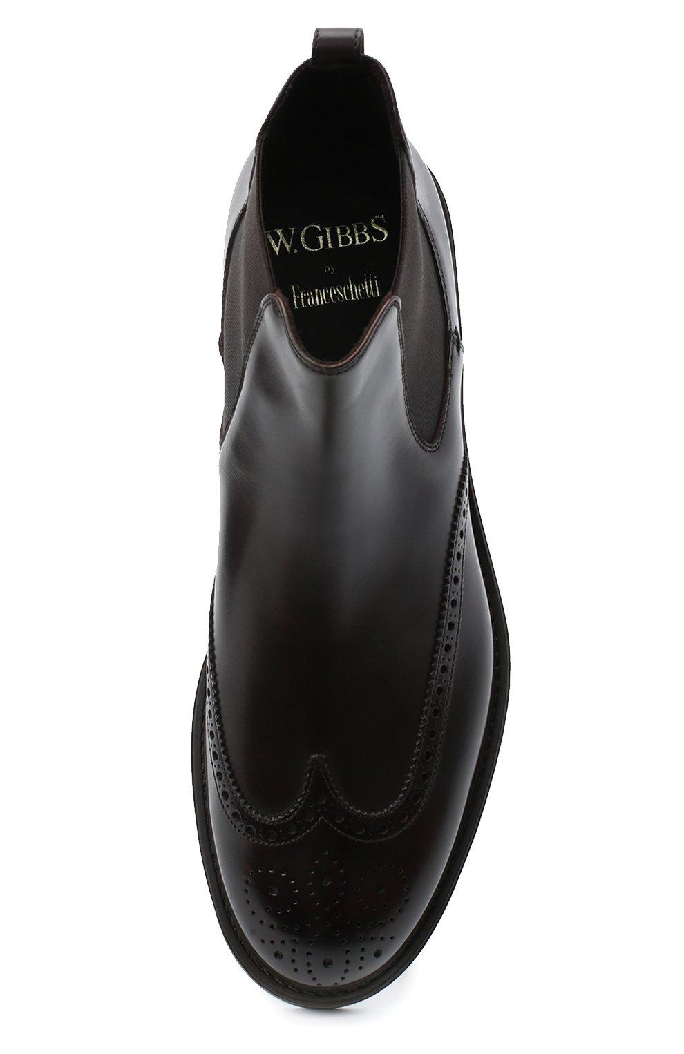 Мужские кожаные челси W.GIBBS темно-коричневого цвета, арт. 3169004/0214   Фото 5 (Материал внутренний: Натуральная кожа; Подошва: Плоская; Мужское Кросс-КТ: Сапоги-обувь, Челси-обувь)