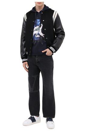 Мужской хлопковое худи VALENTINO синего цвета, арт. UV3MF14E6JL | Фото 2