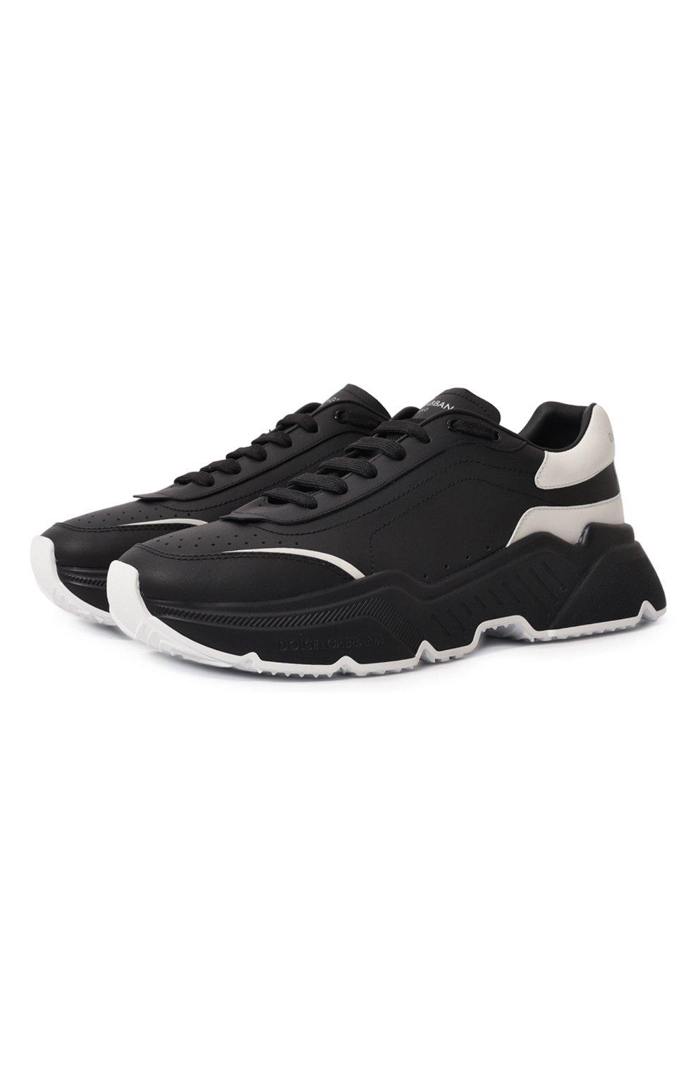 Мужские кожаные кроссовки daymaster DOLCE & GABBANA черного цвета, арт. CS1791/AX589 | Фото 1 (Материал внутренний: Натуральная кожа; Стили: Гранж; Подошва: Массивная)