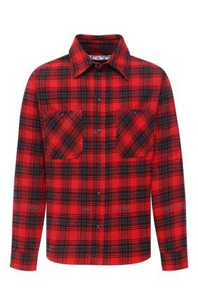 Мужская хлопковая рубашка OFF-WHITE красного цвета, арт. 0MGA133E20FAB0012510   Фото 1