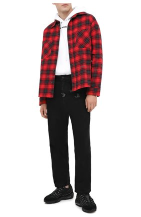 Мужская хлопковая рубашка OFF-WHITE красного цвета, арт. 0MGA133E20FAB0012510   Фото 2