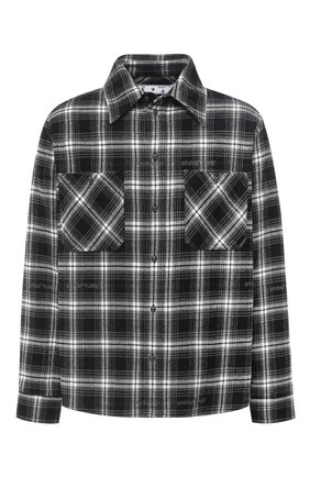 Мужская хлопковая рубашка OFF-WHITE черного цвета, арт. 0MGA133E20FAB0011010   Фото 1