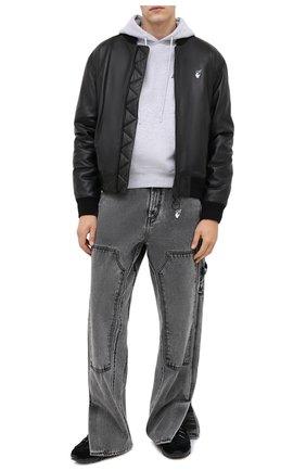 Мужской хлопковое худи OFF-WHITE серого цвета, арт. 0MBB034E20FLE0080818 | Фото 2