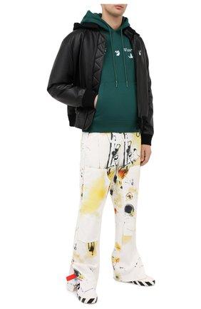 Мужской хлопковое худи OFF-WHITE зеленого цвета, арт. 0MBB034E20FLE0025701 | Фото 2