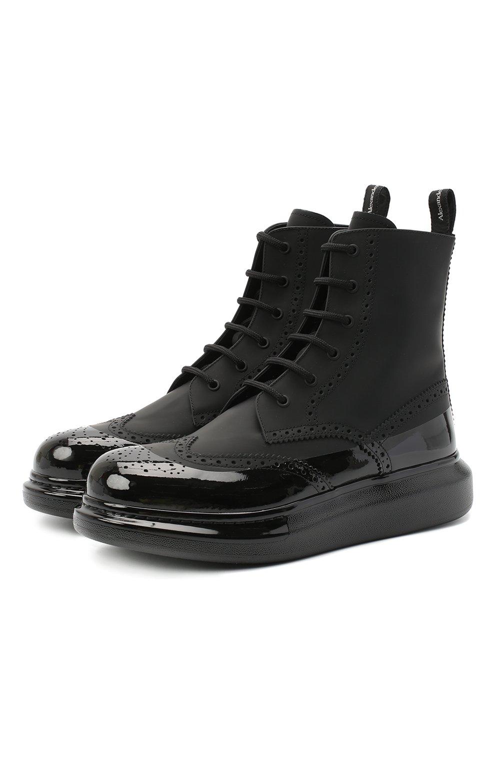Мужские кожаные ботинки ALEXANDER MCQUEEN черного цвета, арт. 628810/WHYK2   Фото 1