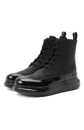 Мужские кожаные ботинки ALEXANDER MCQUEEN черного цвета, арт. 628810/WHYK2 | Фото 1