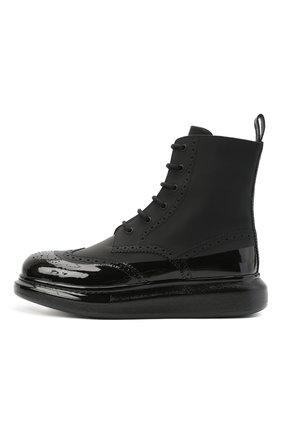 Мужские кожаные ботинки ALEXANDER MCQUEEN черного цвета, арт. 628810/WHYK2   Фото 3