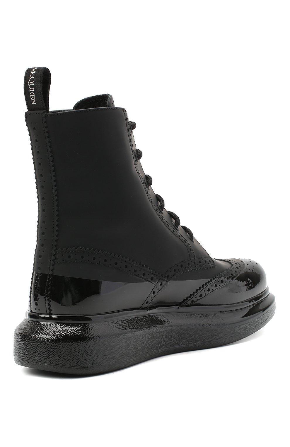 Мужские кожаные ботинки ALEXANDER MCQUEEN черного цвета, арт. 628810/WHYK2   Фото 4