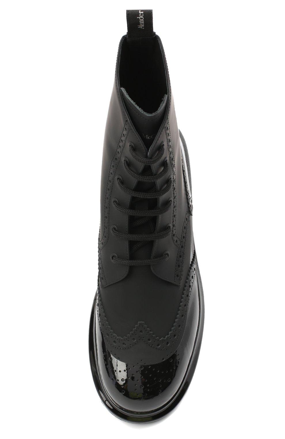 Мужские кожаные ботинки ALEXANDER MCQUEEN черного цвета, арт. 628810/WHYK2   Фото 5