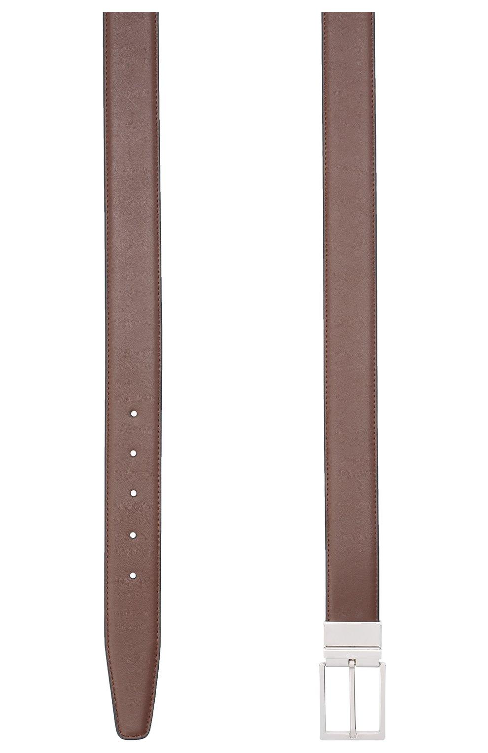 Мужской кожаный ремень BRIONI коричневого цвета, арт. 0BAQ0L/P9721 | Фото 2