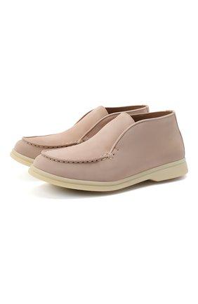 Детские замшевые ботинки LORO PIANA розового цвета, арт. FAD6916 | Фото 1