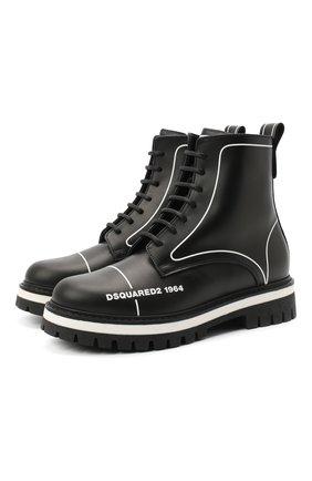 Детские кожаные ботинки DSQUARED2 черного цвета, арт. 65196/RUNNER/36-41 | Фото 1