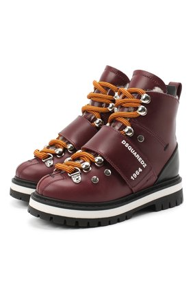 Детские кожаные ботинки DSQUARED2 бордового цвета, арт. 65200/RUNNER/18-27 | Фото 1