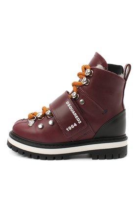 Детские кожаные ботинки DSQUARED2 бордового цвета, арт. 65200/RUNNER/18-27 | Фото 2