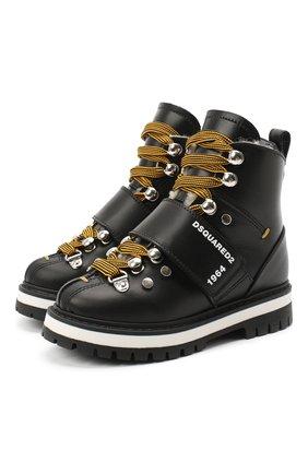 Детские кожаные ботинки DSQUARED2 черного цвета, арт. 65200/RUNNER/18-27 | Фото 1