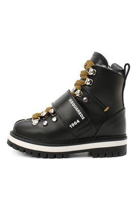 Детские кожаные ботинки DSQUARED2 черного цвета, арт. 65200/RUNNER/18-27 | Фото 2