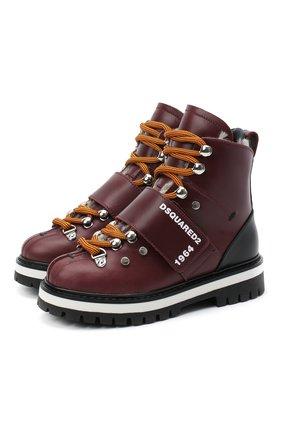 Детские кожаные ботинки DSQUARED2 бордового цвета, арт. 65200/RUNNER/28-35 | Фото 1