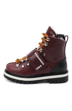 Детские кожаные ботинки DSQUARED2 бордового цвета, арт. 65200/RUNNER/28-35 | Фото 2