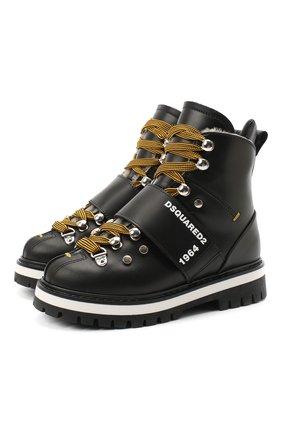 Детские кожаные ботинки DSQUARED2 черного цвета, арт. 65200/RUNNER/28-35 | Фото 1