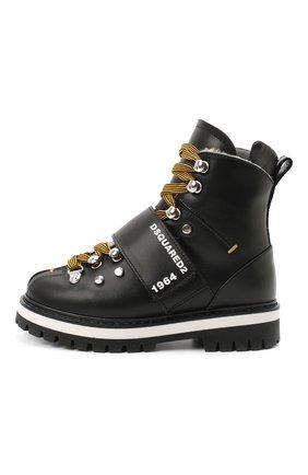 Детские кожаные ботинки DSQUARED2 черного цвета, арт. 65200/RUNNER/28-35 | Фото 2