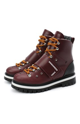 Детские кожаные ботинки DSQUARED2 бордового цвета, арт. 65200/RUNNER/36-41 | Фото 1