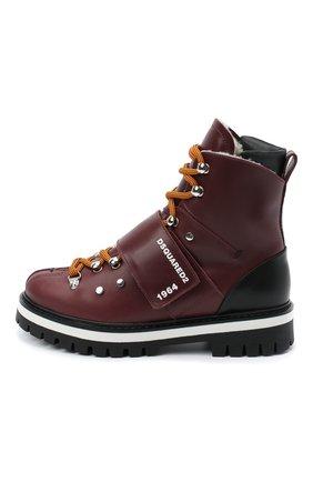 Детские кожаные ботинки DSQUARED2 бордового цвета, арт. 65200/RUNNER/36-41 | Фото 2