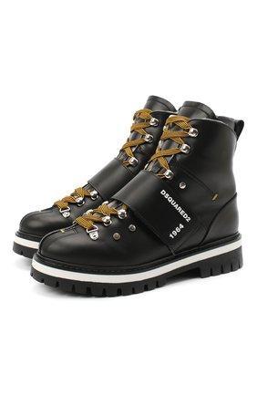 Детские кожаные ботинки DSQUARED2 черного цвета, арт. 65200/RUNNER/36-41 | Фото 1