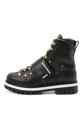 Детские кожаные ботинки DSQUARED2 черного цвета, арт. 65200/RUNNER/36-41 | Фото 2
