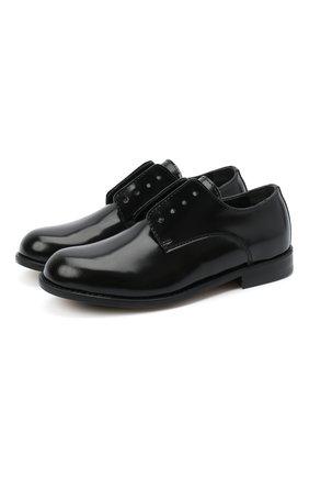 Детские кожаные дебри без шнуровки DSQUARED2 черного цвета, арт. 65202/LUX/28-35 | Фото 1