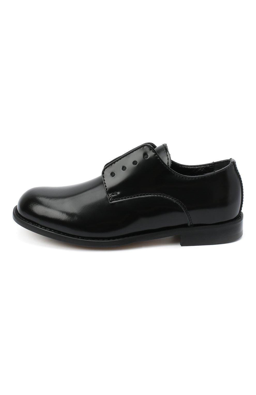 Детские кожаные дебри без шнуровки DSQUARED2 черного цвета, арт. 65202/LUX/28-35 | Фото 2