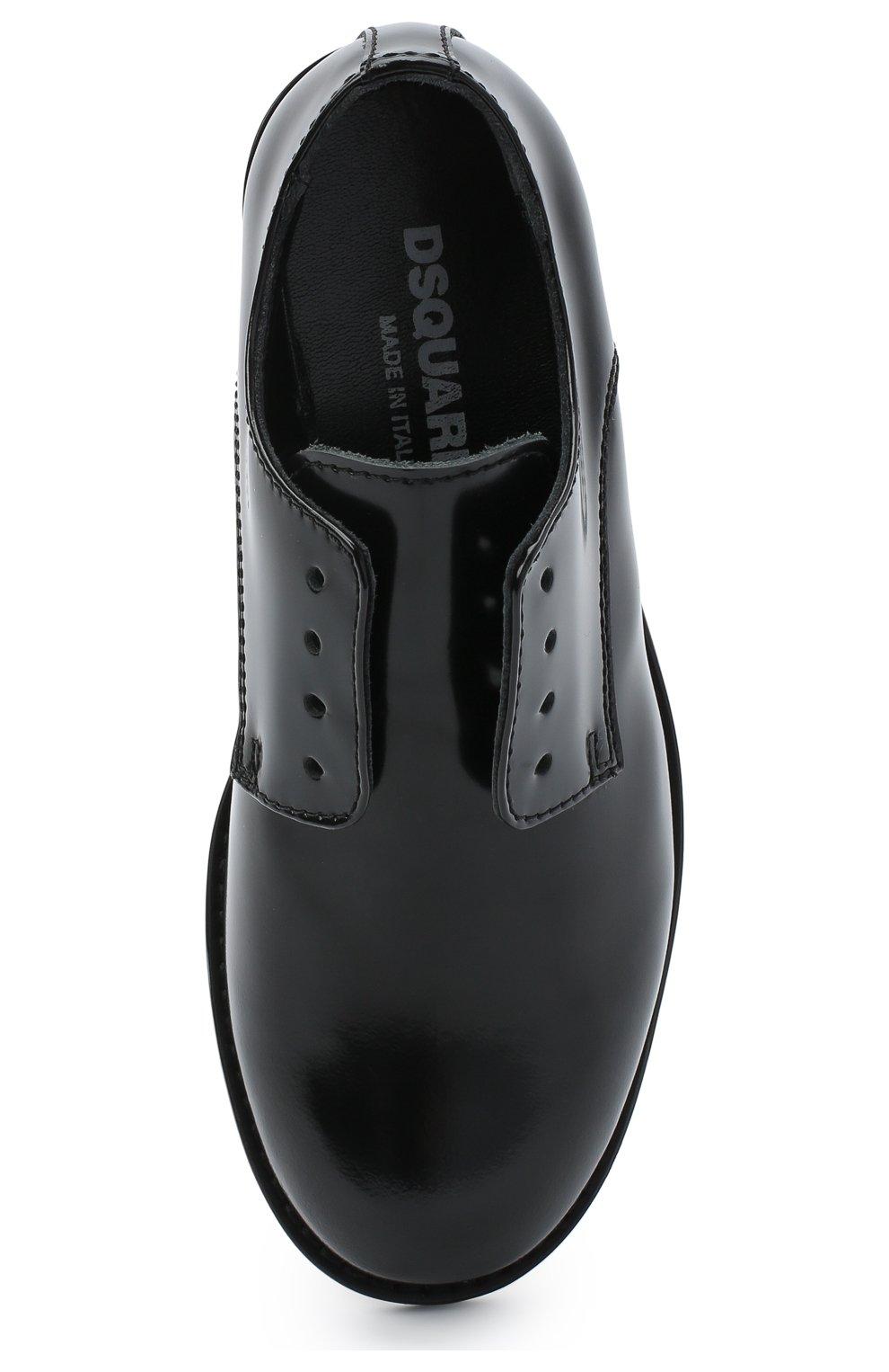 Детские кожаные дебри без шнуровки DSQUARED2 черного цвета, арт. 65202/LUX/28-35 | Фото 4