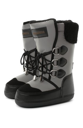 Детские кожаные ботинки DSQUARED2 черного цвета, арт. 65207/SINT.NAPPA/36-41 | Фото 1