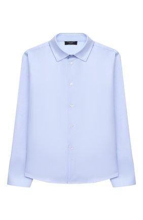 Детская хлопковая рубашка DAL LAGO голубого цвета, арт. N402/8933/7-12 | Фото 1 (Материал внешний: Хлопок; Рукава: Длинные; Стили: Классический; Ростовка одежда: 10 - 11 лет | 140 - 146см, 12 лет | 152 см, 7 лет | 122 см, 8 лет | 128 см, 9 лет | 134 см)
