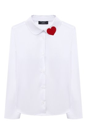 Детское хлопковая блузка DAL LAGO белого цвета, арт. R406/7537/4-6 | Фото 1