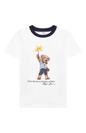 Детская хлопковая футболка POLO RALPH LAUREN белого цвета, арт. 323785958 | Фото 1