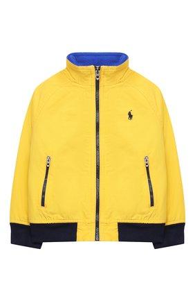 Детского хлопковая куртка POLO RALPH LAUREN желтого цвета, арт. 322785763 | Фото 1