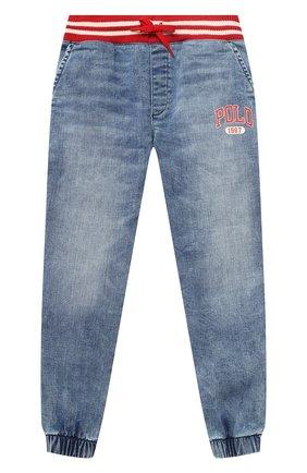 Детские джинсовые джоггеры POLO RALPH LAUREN синего цвета, арт. 322784324   Фото 1