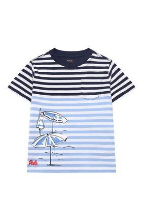 Детская хлопковая футболка POLO RALPH LAUREN голубого цвета, арт. 321786418 | Фото 1