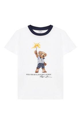 Детская хлопковая футболка POLO RALPH LAUREN белого цвета, арт. 321785958 | Фото 1