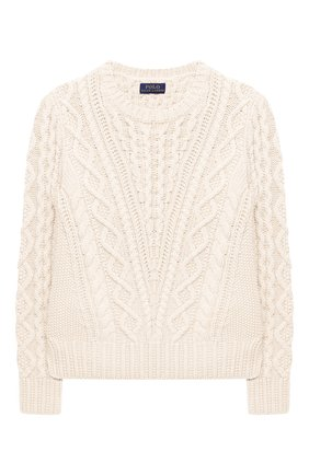 Детский хлопковый пуловер POLO RALPH LAUREN белого цвета, арт. 313787280 | Фото 1