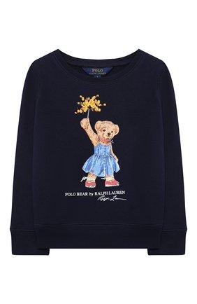 Детский хлопковый свитшот POLO RALPH LAUREN синего цвета, арт. 312807094 | Фото 1