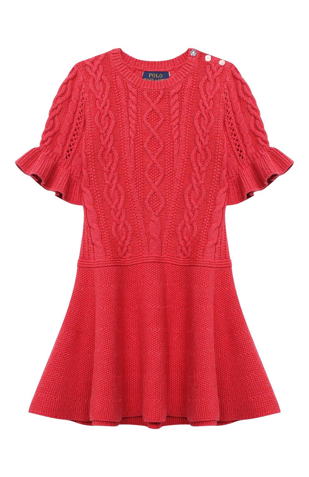 Детское хлопковое платье POLO RALPH LAUREN красного цвета, арт. 312787283   Фото 1 (Рукава: Короткие; Случай: Повседневный; Материал внешний: Хлопок; Девочки Кросс-КТ: Платье-одежда)
