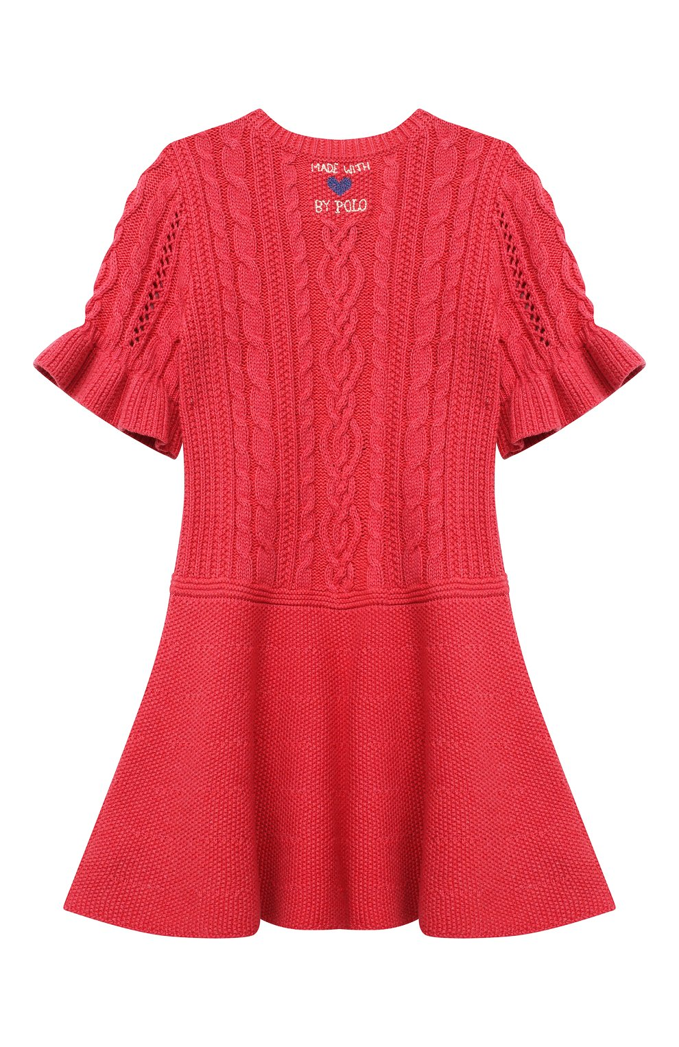 Детское хлопковое платье POLO RALPH LAUREN красного цвета, арт. 312787283   Фото 2 (Рукава: Короткие; Случай: Повседневный; Материал внешний: Хлопок; Девочки Кросс-КТ: Платье-одежда)