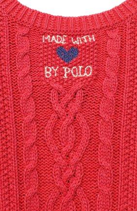 Детское хлопковое платье POLO RALPH LAUREN красного цвета, арт. 312787283   Фото 3 (Рукава: Короткие; Случай: Повседневный; Материал внешний: Хлопок; Девочки Кросс-КТ: Платье-одежда)