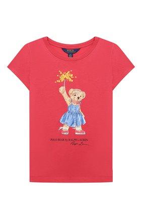 Детская хлопковая футболка POLO RALPH LAUREN красного цвета, арт. 311790444 | Фото 1