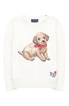 Детский хлопковый пуловер POLO RALPH LAUREN белого цвета, арт. 311787279 | Фото 1
