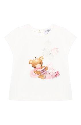 Детский хлопковая футболка MONNALISA белого цвета, арт. 396601S8 | Фото 1