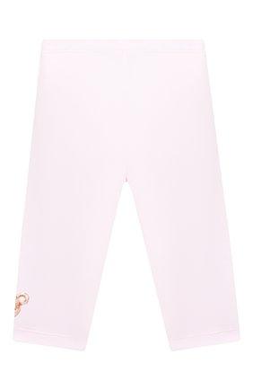 Детского хлопковые леггинсы MONNALISA розового цвета, арт. 316405A1 | Фото 2