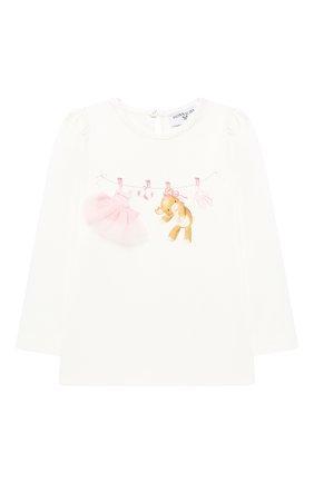 Детский хлопковый лонгслив MONNALISA белого цвета, арт. 396603SB | Фото 1