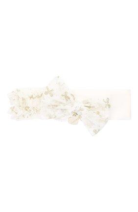 Детская повязка на голову MONNALISA белого цвета, арт. 736005 | Фото 1